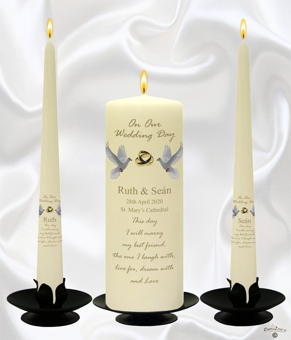 Dove & Gold Rings Wedding Candles on Ivory