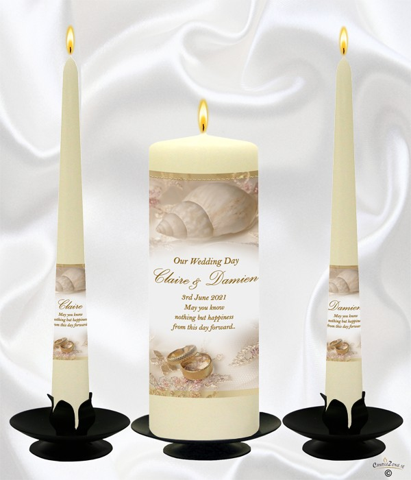 Shells & Rings Wedding Candles on Ivory