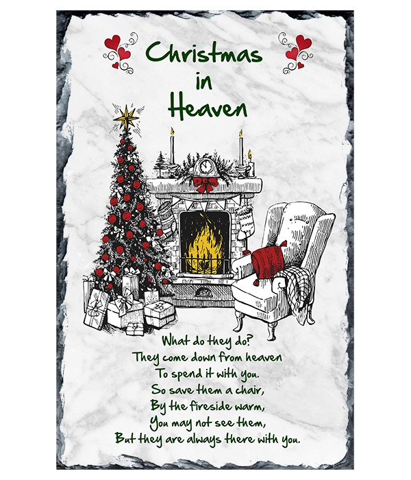 Christmas in Heaven Chair & Fire Remembrance Christmas Slate