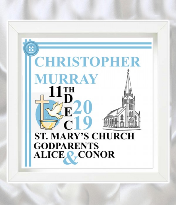 Christening Blue Shadow Boxed Frame