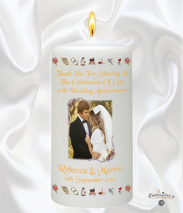 30th Wedding Anniversary Gift Basket : CandleZone.ie30th Wedding Anniversary FavourRibbons & Photo ...