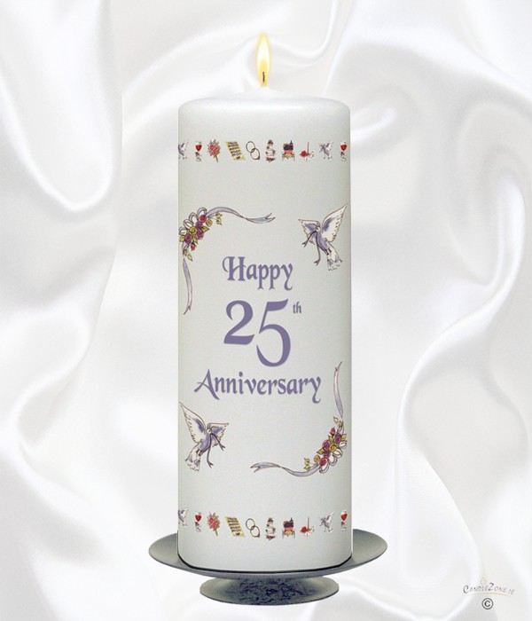 25th Wedding Anniversary Candle - Ribbons