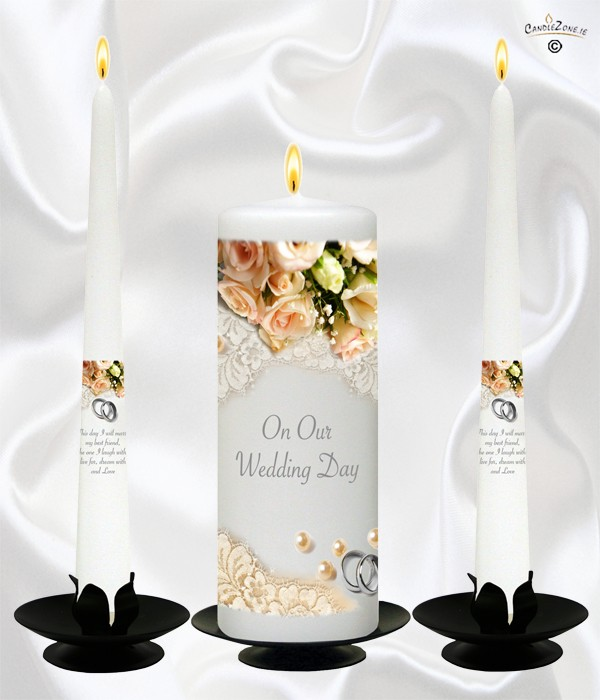Flower Range Pearl, Ring & Peach Roses Silver Wedding Candles