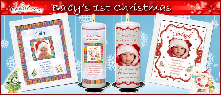 Click Here - Baby's Christmas Personalised Candles & Frames