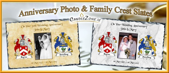 Any Anniversary Photo and Family Crest Slate