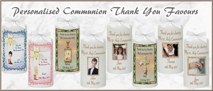 Choose from a wide range of Personalised 1st Communion Thank You Favours