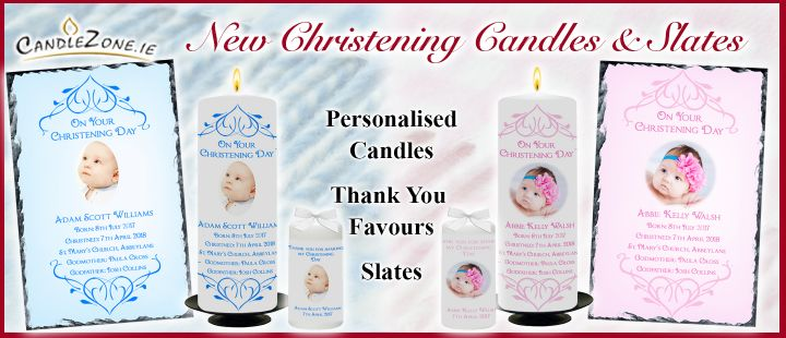 Christening Candles, Thank you favours & Photo Slates