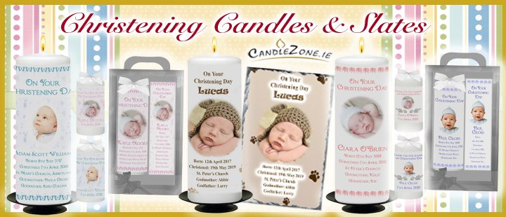 Personalised Christening Candles, Thank you Favours and Slates