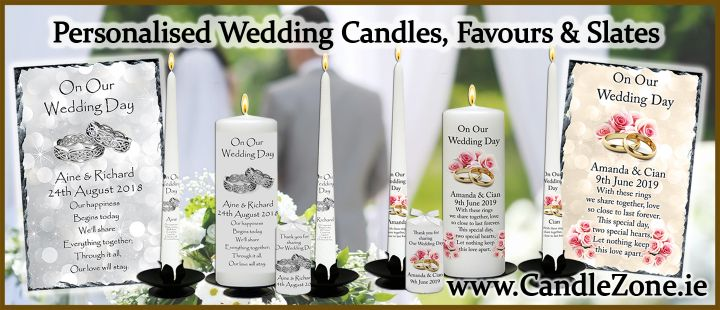 New Designs - Wedding Candles, Thank you Favours and Slates