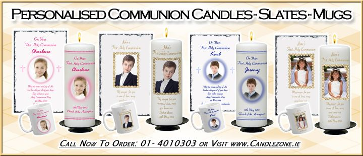 Personalised 1st Holy Communion Candles - Mugs - Slates - Money Boxes